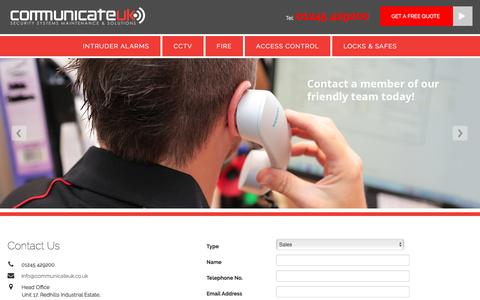 Screenshot of Contact Page communicateuk.co.uk - Security Systems in Essex from Communicate UK - captured May 20, 2017