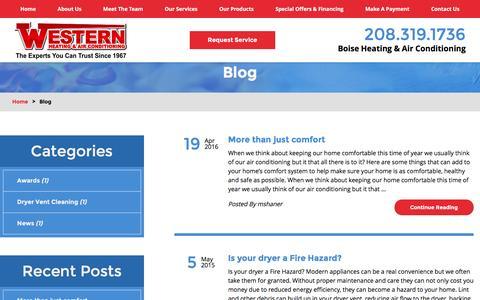 Screenshot of Blog westernhvac.com - HVAC Blog   Boise Heating & Air Conditioning - captured Nov. 29, 2016