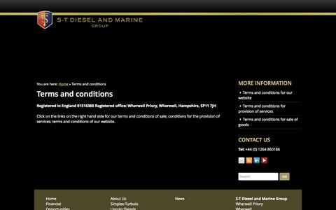 Screenshot of Terms Page dieselmarinegroup.com - Terms and conditions - ST Diesel and Marine Group - captured Oct. 3, 2014