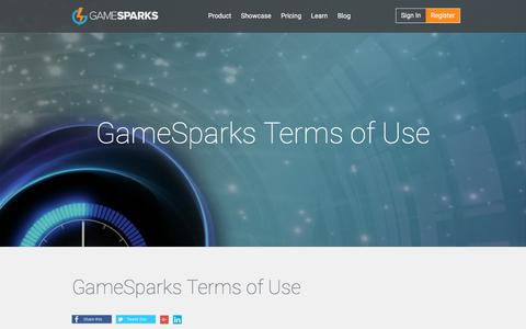 Screenshot of Terms Page gamesparks.com - GameSparks Terms of Use | - captured July 13, 2019