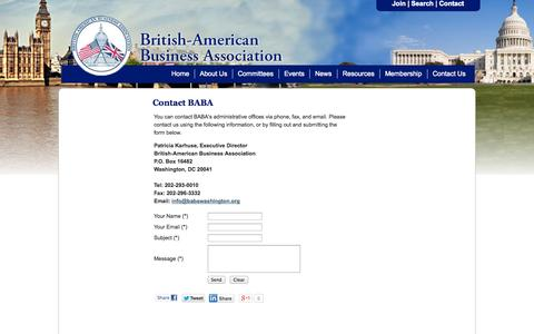 Screenshot of Contact Page babawashington.org - Contact Us - British-American Business Association - captured Oct. 3, 2014
