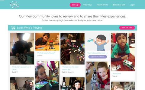 Screenshot of Testimonials Page pley.com - Pley reviews |  Pley | Rent the coolest toys including LEGO®, American Girl and other amazing toys - captured Feb. 20, 2016