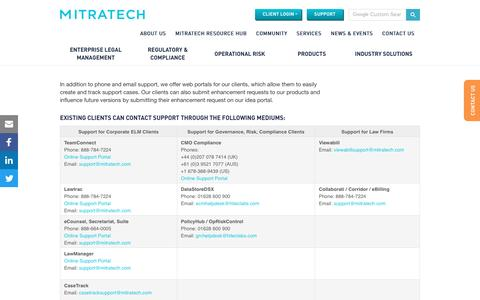 Screenshot of Support Page mitratech.com - Mitratech Client Support - captured March 10, 2017