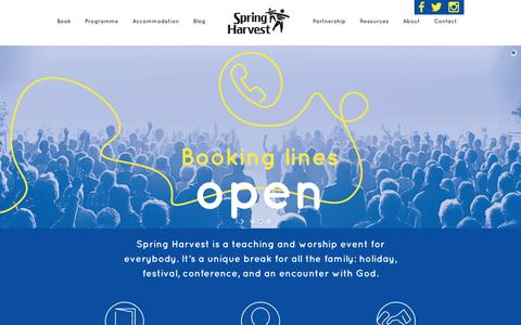 Screenshot of Home Page springharvest.org - Spring Harvest | Spring Harvest is a teaching and worship event for everybody, it's a unique break for all the family: holiday, festival, conference, and an encounter with God. - captured Aug. 15, 2016