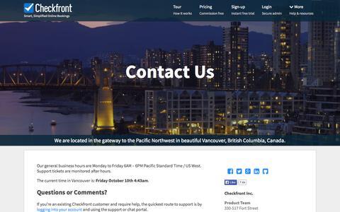 Screenshot of Contact Page checkfront.com - Contact Checkfront - captured Oct. 10, 2014