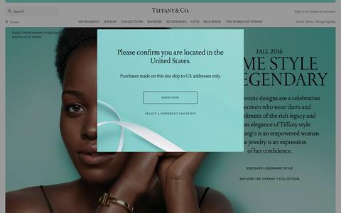 Screenshot of Home Page tiffany.com - Home | Tiffany & Co. - captured Sept. 15, 2016