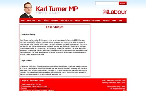 Screenshot of Case Studies Page karlturnermp.org.uk - Karl Turner - Hull Labour MP - Case Studies - captured May 21, 2016