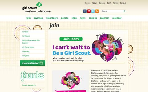 Screenshot of Signup Page gswestok.org - Join - Girl Scouts Western Oklahoma - captured Oct. 2, 2014