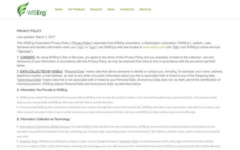 Screenshot of Privacy Page wiserg.com - Privacy Policy – WISErg - captured Oct. 8, 2019