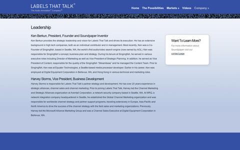 Screenshot of Team Page soundpaper.com - Leadership  | Labels That Talk - captured Sept. 11, 2014
