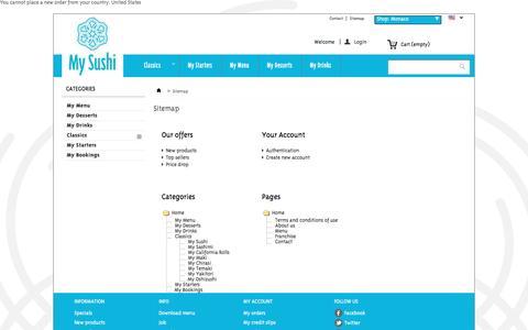 Screenshot of Site Map Page mysushi.com - Sitemap - My Sushi Monaco - captured Aug. 15, 2016