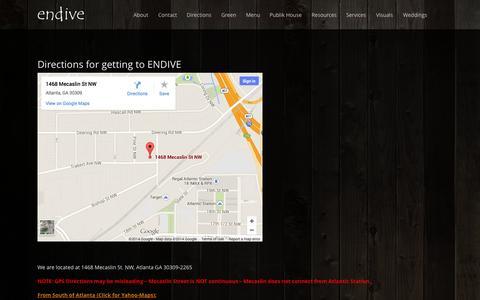Screenshot of Maps & Directions Page endiveatlanta.com - Directions | Endive Atlanta Fine Catering - captured Oct. 2, 2014