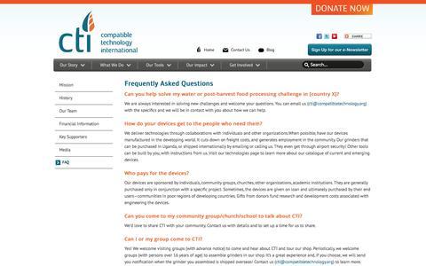 Screenshot of FAQ Page compatibletechnology.org - FAQ - captured Oct. 3, 2014