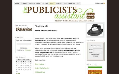 Screenshot of Testimonials Page thepublicistsassistant.com - Testimonials - captured Feb. 15, 2016