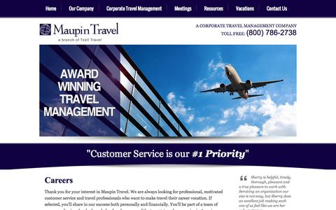 Screenshot of Jobs Page maupintravel.com - Travel Professional & Customer Service Careers Available at Maupin Travel - captured Oct. 27, 2014
