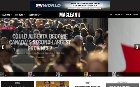Screenshot of Home Page macleans.ca - Macleans.ca - Canada's only national weekly current affairs magazine. - captured Sept. 18, 2014