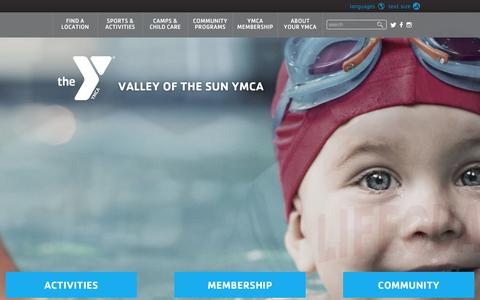 Screenshot of Home Page valleyymca.org - Valley of the Sun YMCA in Arizona - captured June 18, 2015