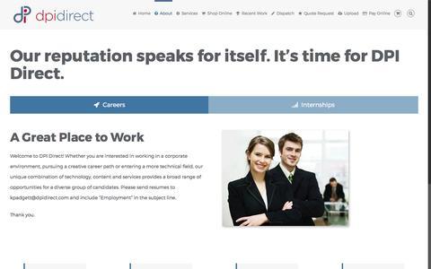 Screenshot of Jobs Page dpidirect.com - San Diego Careers & Internships at DPI Direct | Printing San Diego - captured April 26, 2017