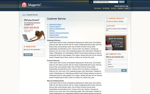 Screenshot of Support Page barchettis.com - Customer Service - captured Sept. 30, 2014