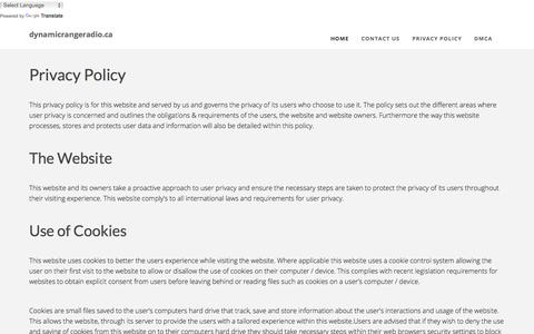 Screenshot of Privacy Page dynamicrangeradio.ca - Privacy Policy - captured Aug. 9, 2018