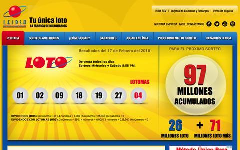 Screenshot of Home Page leidsa.com - LEIDSA - Lotería Electrónica Internacional Dominicana S.A. - captured Feb. 19, 2016