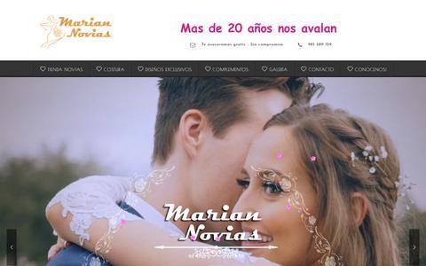 Screenshot of Home Page mariannovias.com - Marián Novias - Tienda de novias Naron, Ferrol, Betanzos, Coruña Galicia - captured April 12, 2018