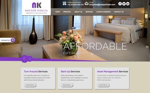 Screenshot of Services Page nassarkhalil.com - Hotel Asset Management Services from Hotel Specialists - Nassar Khalil and Associates - captured Sept. 19, 2014