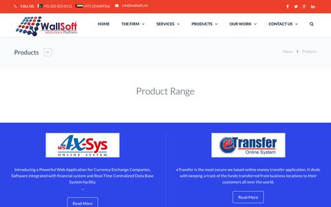 Screenshot of Products Page wallsoft.net - Products | WallSoft - The eSolution Platform - captured June 11, 2017