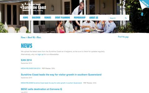 Screenshot of Press Page businesseventssunshinecoast.com.au - Sunshine Coast | Things to Do, Accommodation, Attractions and Tourism - captured Sept. 30, 2014