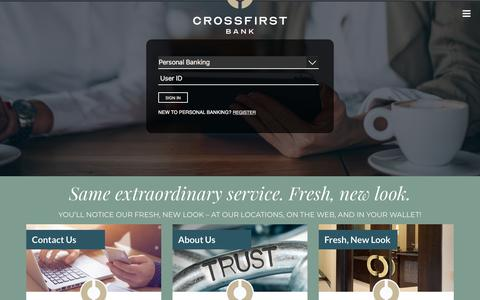 Screenshot of Home Page crossfirstbank.com - CrossFirst Bank > Home - captured July 19, 2019