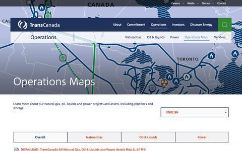 Screenshot of Maps & Directions Page transcanada.com - TransCanada — Operations Maps - captured Nov. 9, 2018