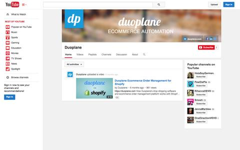 Screenshot of YouTube Page youtube.com - Duoplane  - YouTube - captured Oct. 23, 2014
