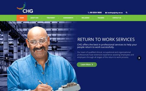 Screenshot of Home Page chg.net.au - CHG - Corporate Health Group - Occupational Health Services - captured Sept. 25, 2018