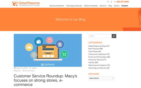 Screenshot of Support Page globalresponse.com - Customer Service Roundup: Macy's focuses on strong stores, e-commerce - Global Response - captured Feb. 20, 2020