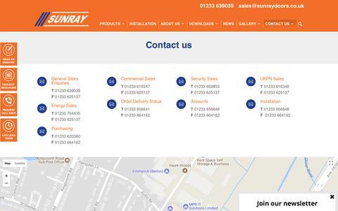 Screenshot of Contact Page sunraydoors.co.uk - Steel Security Door Manufactures | Contact Us | Sunray - captured Oct. 25, 2017