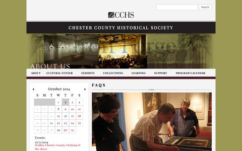 Screenshot of FAQ Page chestercohistorical.org - FAQs | Chester County Historical Society - captured Oct. 2, 2014