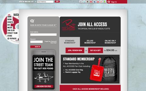 Screenshot of Signup Page Login Page rascalflatts.com - Sign In : Rascal Flatts - captured Oct. 26, 2014