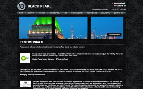 Screenshot of Testimonials Page solutions-bp.com - TESTIMONIALS | Black Pearl Solutions - captured Nov. 3, 2014