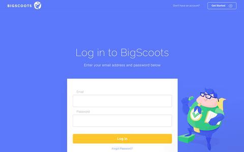 Screenshot of Login Page bigscoots.com - BigScoots - captured Aug. 2, 2018