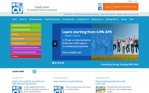 Screenshot of Home Page credit-union.coop - London Capital Credit Union - captured Oct. 8, 2015