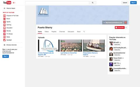 Screenshot of YouTube Page youtube.com - Puerto Sherry  - YouTube - captured Oct. 23, 2014