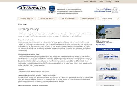 Screenshot of Privacy Page airelectro.com - Privacy - captured Nov. 20, 2016