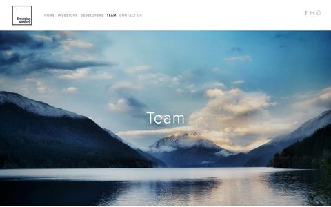 Screenshot of Team Page emergingadvisory.com - Team — Emerging Advisory - captured July 18, 2018