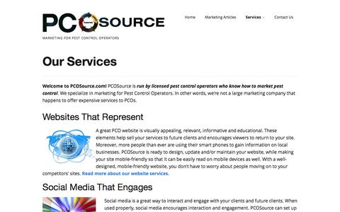 Screenshot of Services Page pcosource.com - Our Services | PCOSource - captured July 9, 2016