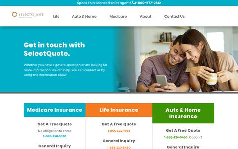 Screenshot of Contact Page selectquote.com - Contact SelectQuote: Life, Auto, Home, and Medicare Insurance - captured Feb. 8, 2020