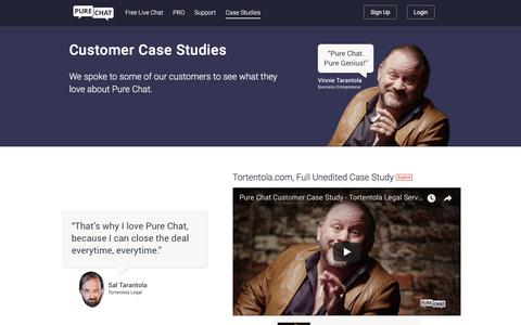 Screenshot of Case Studies Page purechat.com - Pure Chat | Live Chat Customer Case Studies - captured Jan. 19, 2018