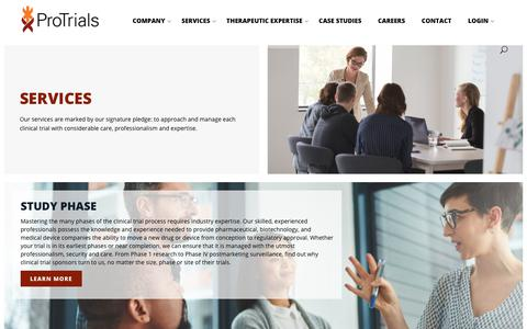 Screenshot of Services Page protrials.com - Services - Protrials - captured Sept. 29, 2018