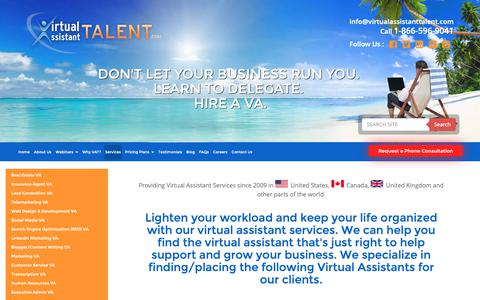 Screenshot of Services Page virtualassistanttalent.com - Virtual Assistant Services For Hire - Virtual Assistant Talent - captured Oct. 18, 2018