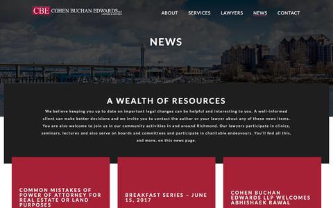 Screenshot of Press Page cbelaw.com - News - Cohen Buchan Edwards LLP - captured Aug. 10, 2017