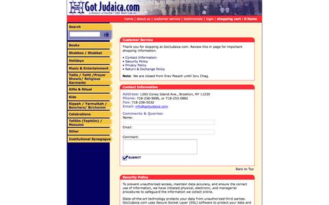 Screenshot of Privacy Page Support Page gotjudaica.com - Got Judaica — Customer Service - captured May 28, 2016